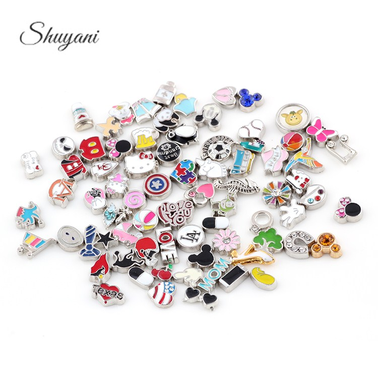 Whole 100pcs Lot Mix Orted Charms Floating Locket Fit Magnetic Gl Living Memory Diy Accessories In From Jewelry