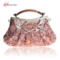 2016 Vintage Women's Beaded Frame Totes Handbags Purses Beading Sequined Evening Party Clutch Bags Small Shoulder Messenger Bags