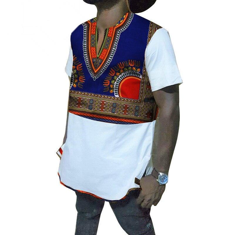 Décontracté manches courtes chemise vêtements africains hommes t-shirt classique afrique imprimer Bazin Riche hauts vêtements traditionnels africains WYN267