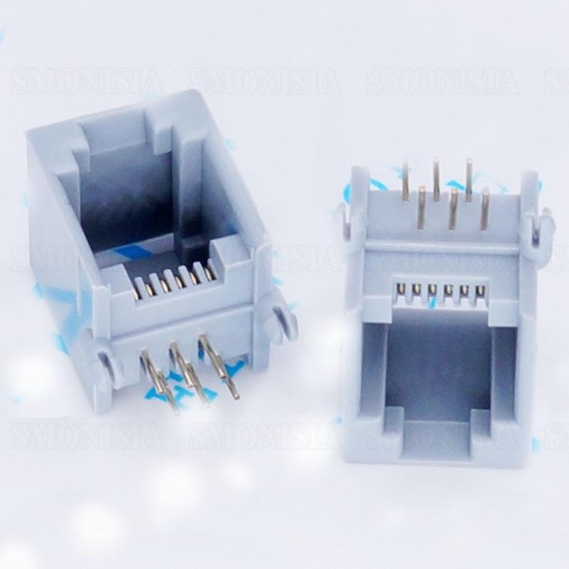 RJ11 RJ12 Telephone Connector Crystal Head Female Socket 6P6C Grey 50pcs rj11 socket telephone 90 degrees 6pin crystal female 95001 6p6c socket