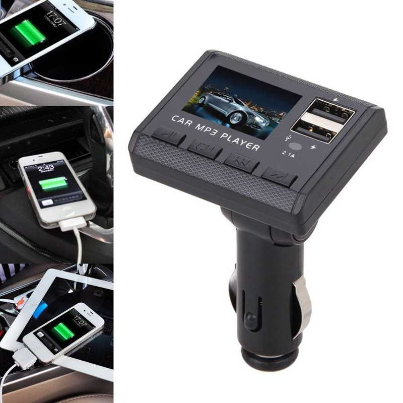 Yeni 8in1 araba oto hızlı şarj çift USB araç şarjı müzik çalar FM modülatör verici MP3 oynatıcı siyah renk