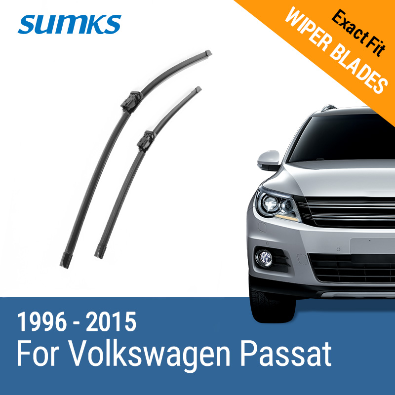 SUMKS Wiper Blades for Volkswagen Passat B5 B6 B7 Fit Hook / Side Pin / Push Button Arms From 1996 to 2015