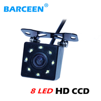 Black plastic shell materi more bright hd ccd image lens bring 8 led car rearview camera apply for a variety of cars