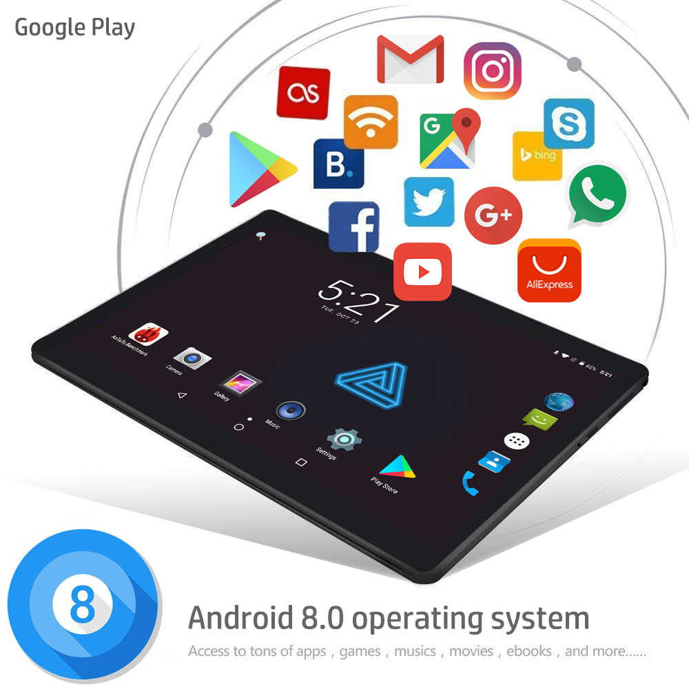 Unlocked Pad 10 inch Octa Core Tablet Android 8.0 3G 4G LTE Dual SIM Cards 4GB RAM 32GB ROM WIFI Bluetooth GPS Netflix Youtube