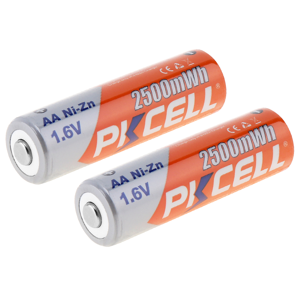 1pcs PKCELL Rechargeable NIZN AA 2500mWh NI Zn 1.6V AA Battery  for Cameras Toys-in Rechargeable Batteries from Consumer Electronics