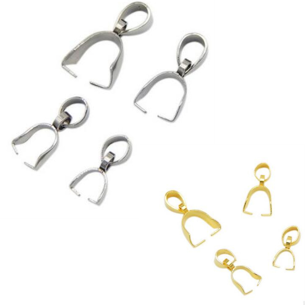 20pcs/lot Stainless Steel Pinch Bails Pendant Clasps 2.5X14 3X15 4X16 5X18mm Snap Bails Connector For DIY Jewelry Making Finding