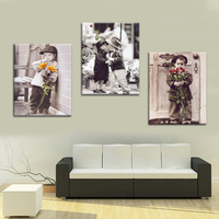 3 Panel BOY With Flower Find Love Print Frameless Canvas Art Oil Painting Home Decoration Modular