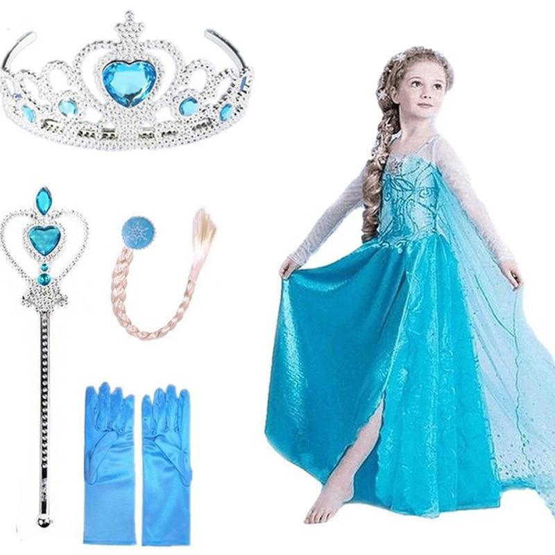 Girls Dress Elsa Dress Cosplay Party Vestidos Snow Queen Princess Dress for Girls Elza Halloween Christmas Baby Girl Clothing
