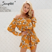 Simplee Floral Print Off Shoulder Jumpsuit Romper Women Sexy Hollow Out Ruffle Bow Playsuit Summer Beach