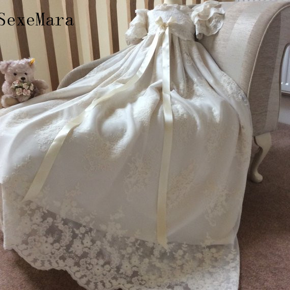 Lace Baby Girls Long Christening Gown Baptism Dress Infant Toddler Heirloom Gown set Ivory Christening Dress with Bonnet gorgeous white ivory baby girls heirloom christening gown with bonnet baby girls boys baptism robe dress