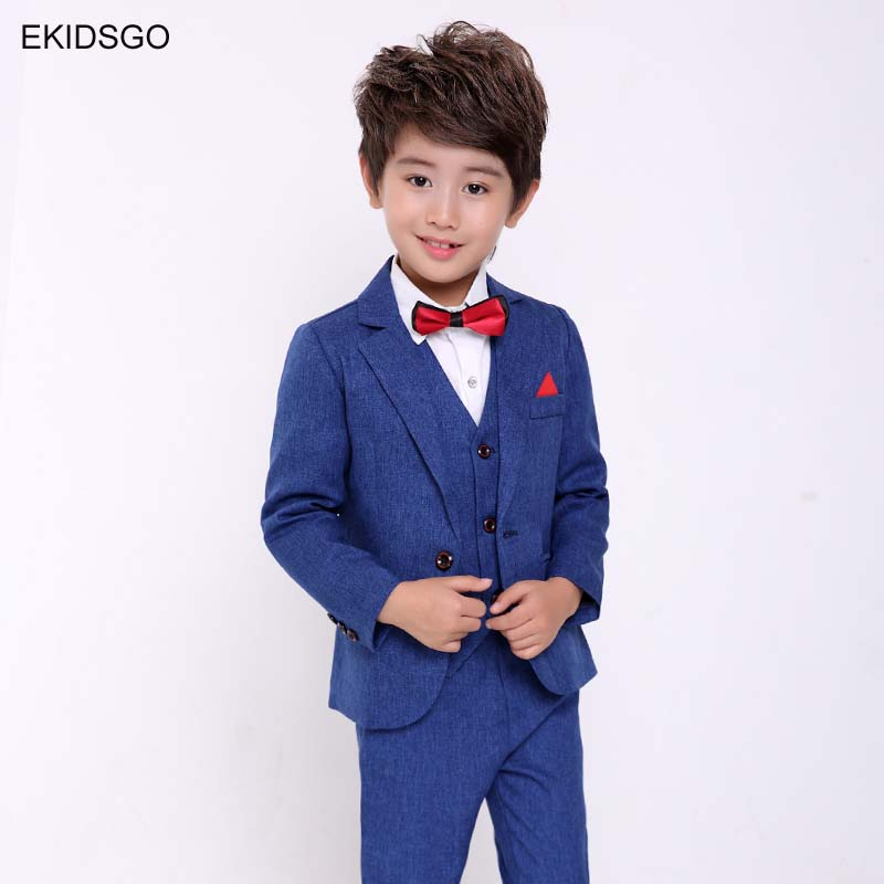 2018 Big Boys Blazer Suits Jacket+Blouse+Pants+Tie 4 pieces/set Costume Kids Clothing Suits for Weddings and Party Toddler Cloth