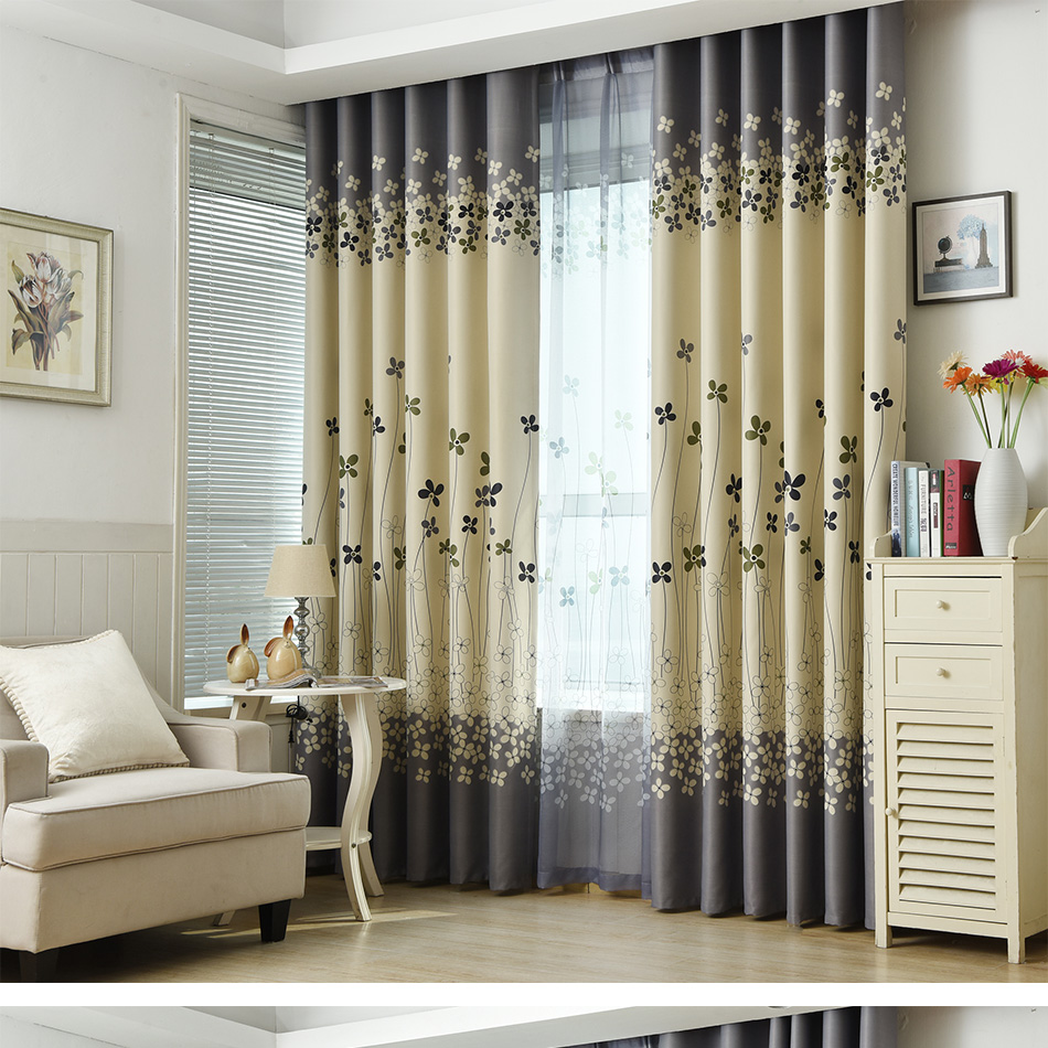 Modern Curtain Floral Print Modern Blackout Curtains For Living Room The Bedroom Home Decor Curtain Sets Drapes