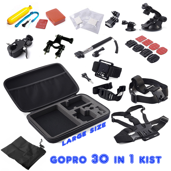 ZJM For Gopro Set + Kit Chest +Head Strap+Floating Grip + Monopod + Case Chest Strap for GoPro Hero3+ 4 xiao yi camera bz81 universal floating grip handle mount accessory for gopro hero 4 2 3 3 yellow