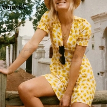 Cuerly 2019 summer chic boho beach yellow floral print dress women v neck short sleeve skater dresses sexy mini