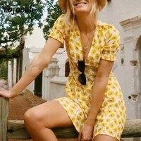 Cuerly 2019 summer chic boho beach yellow floral print dress women v neck short sleeve skater dresses sexy mini dress