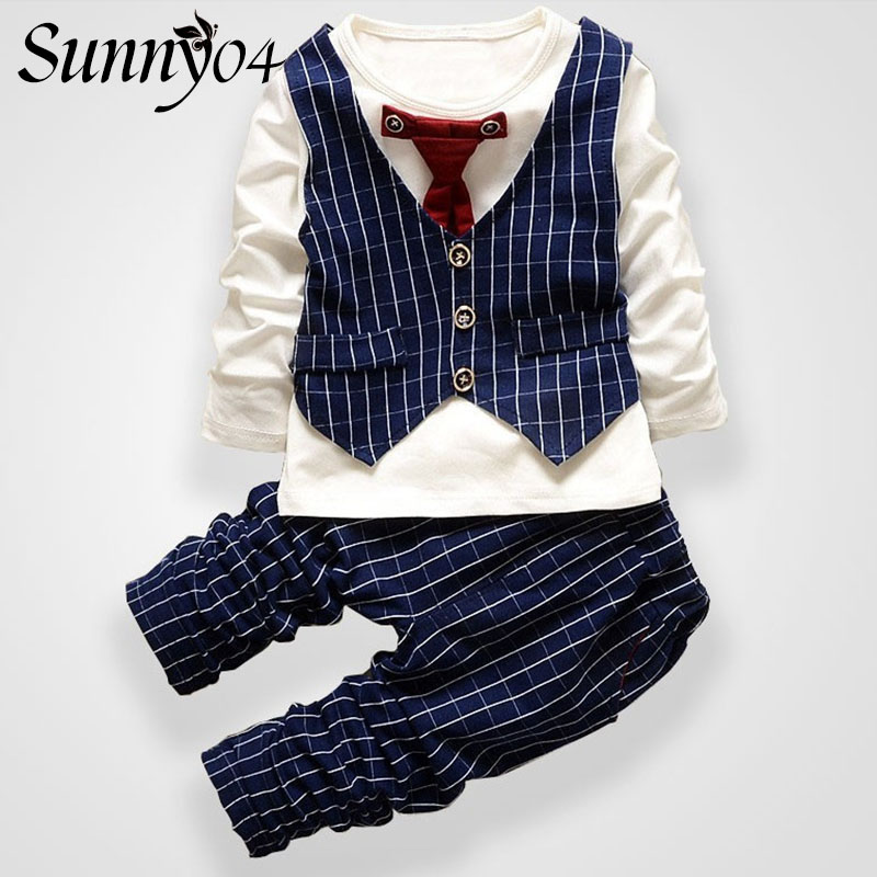 Toddler Boys Clothing Formal Set Long Sleeve Kids Autumn Spring 2017 Fashion Striped Baby Boy Clothes Sets Gentleman Tie Suit 2016 fashion kids boys clothing set spring autumn children gentleman set long sleeve plaid shirts t shirt jeans baby boy clothes