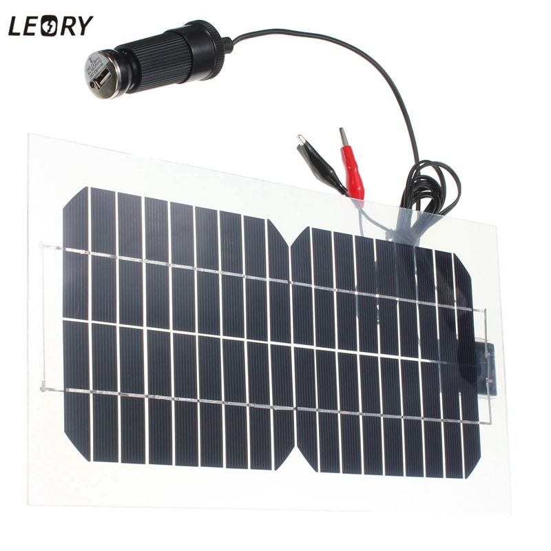 LEORY 5.5W 18V Silicon Solar Panel Semi-Flexible Transparent Monocrystalline Solar Cells Sunpower Engergy +2 Clips+USB Charger leory 5w 18v solar panel monocrystalline waterproof multi purpose solar cells charger for mobilephone cars boat motorcycle