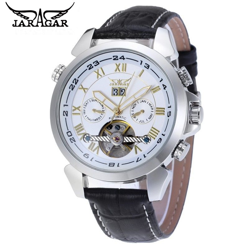 ФОТО New 2017 JARAGAR Luxury Watch Men Day Tourbillion Automatic Mechanical Watches Wristwatch Free Ship