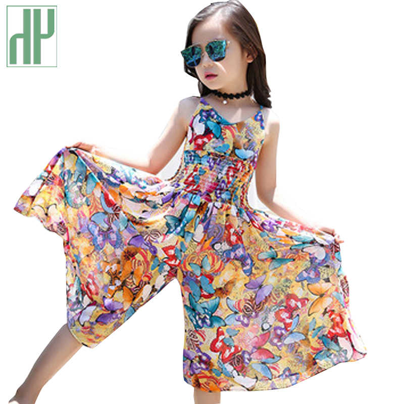 Детское летнее пляжное платье для девочек платье принцессы с цветочным узором для свадебной вечеринки детская одежда для подростков костюм для девочек Vestidos 6, 10, 16 лет