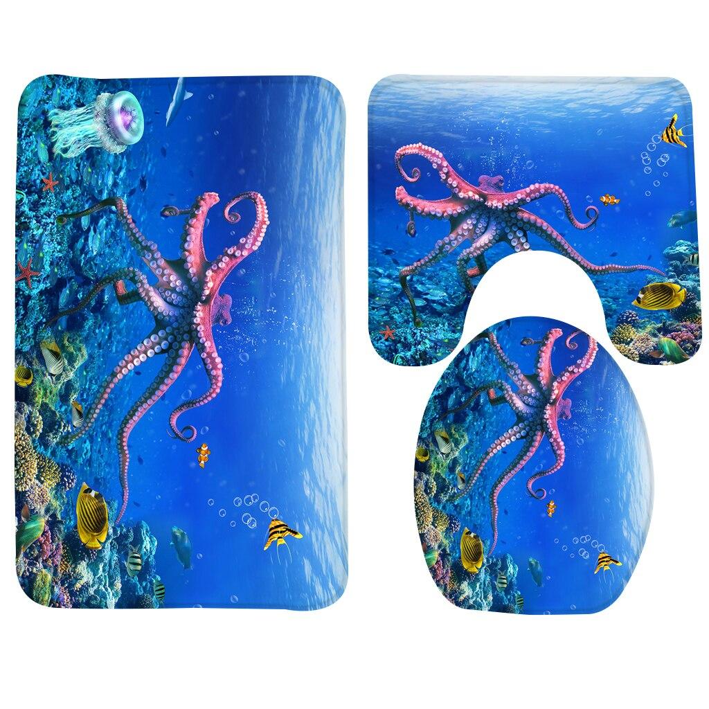 3pcs Bathroom Mat Sets Blue Underwater Bubbles Pattern