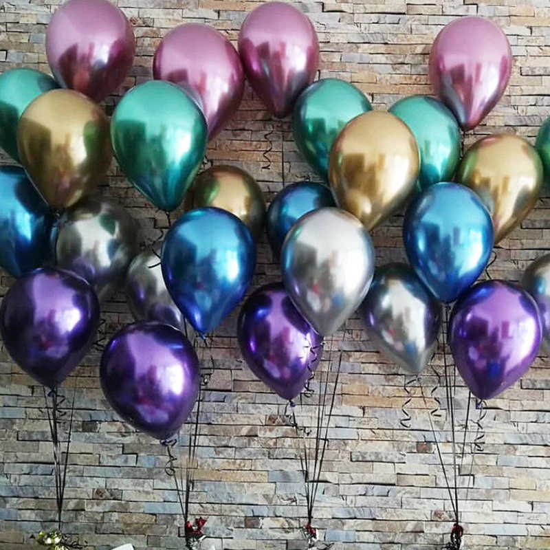 10pcs/lot Metallic Gold Silver Blue Rose Green Purple Ballon Wedding Happy Birthday Latex Metal Chrome Balloons Air Helium Balon