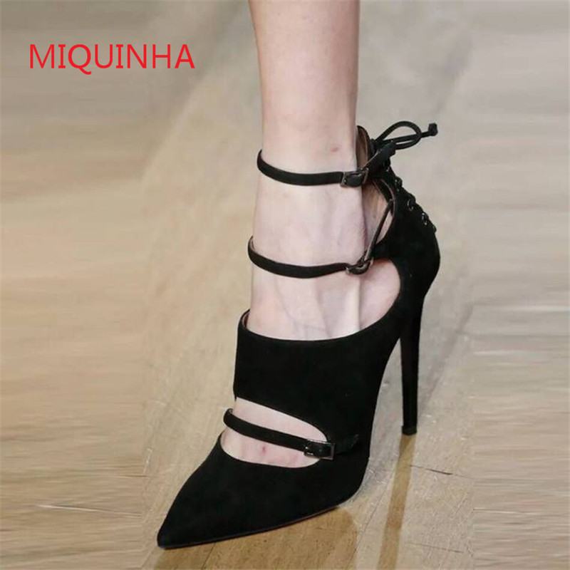 Luxury Brand Shoes Wedding Party Sexy Ladies Shoes Flock Pointed Toe Buckle Strap High Heels Women Shoes Pumps Zapatillas Mujer new 2017 spring summer women shoes pointed toe high quality brand fashion womens flats ladies plus size 41 sweet flock t179