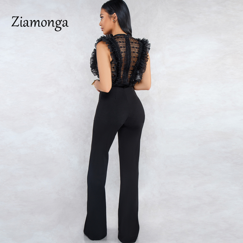HTB16ZF0bbj1gK0jSZFuq6ArHpXa7 - Ziamonga Women Sexy Jumpsuits Patchwork Lace Mesh Ruffles See Through Transparent Slim Bodysuits Overalls Long Pants Outfits