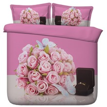 6 Parts Per Set Bed Sheet Set Will you Marry Me Pretty Posy of Pink Roses, Butterflies and Ring