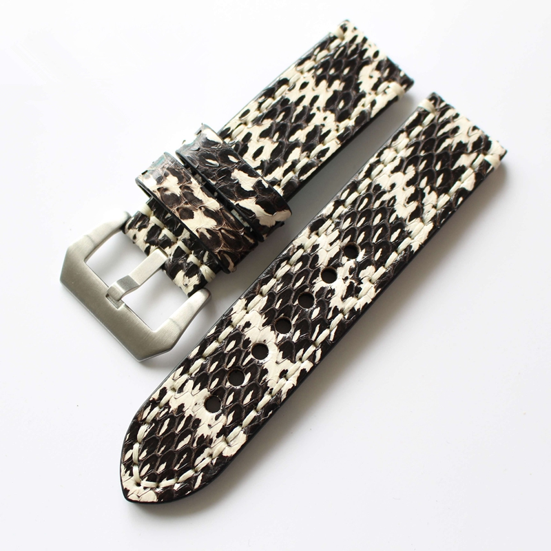 TJP Top Quality Colorful Python Skin 20mm 22mm 24mm 26mm Genuine Leather Strap Watchband for PAM Watch Luminor Daytona Submarine eache 20mm 22mm 24mm 26mm genuine leather watch band crazy horse leather strap for p watch hand made with black buckles