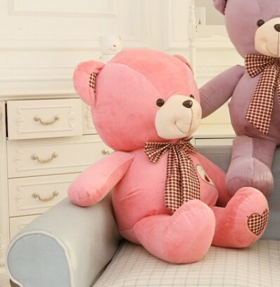 lovely huge teddy bear toy plush bow pink teddy bear heart bear doll gift about 100cm the lovely lying teddy bear doll red stripe cloth plush bear toy gift toy about 120cm
