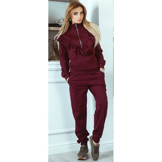Women Sporting Sweatshirt Pants Set Women Fashion Casual Sweatshirt Pant set Ruffle Pockets Tracksuit Set Lounge wear Joggers