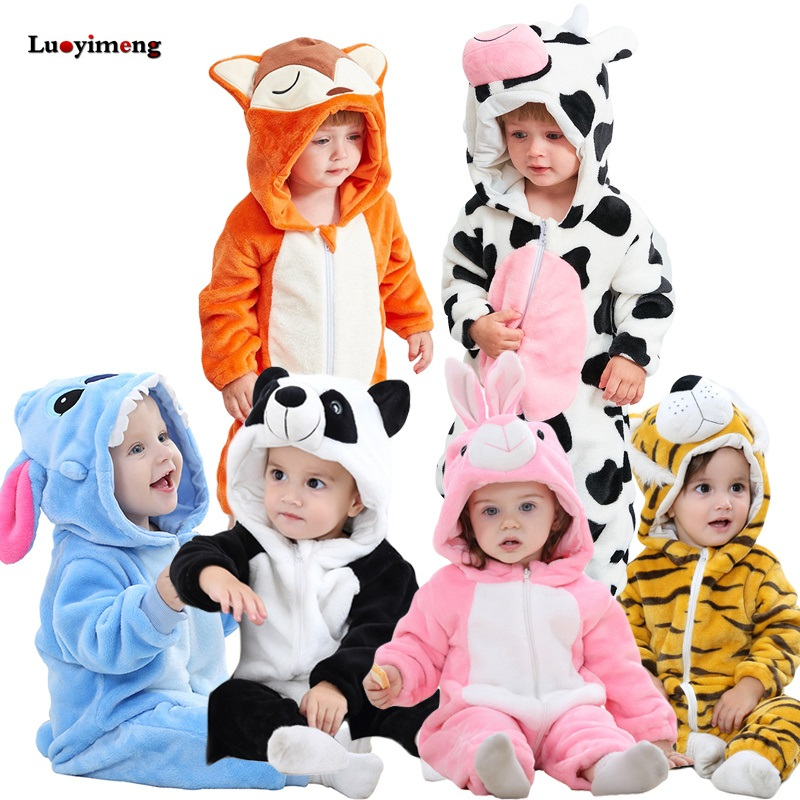 Winter Inflant Rompers Kids Jumpsuit Cartoon Baby Clothes Stich Panda Pikachu Pajamas Sleepers Kigurumi Costumes For Boys Girls