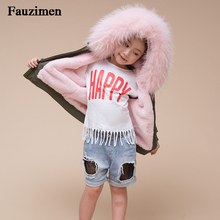623f11e9a9a90 Baby Girls Jackets 2018 Autumn Winter Jackets Boys Jacket Kids Warm Real  Raccoon Fur Hooded Outerwear