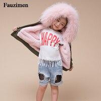 Baby Girls Jackets 2019 Autumn Winter Jackets Boys Jacket Kids Warm Real Raccoon Fur Hooded Outerwear Boys Coat Children Clothes