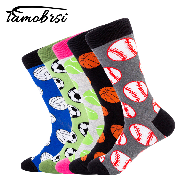 Ball Series Casual Jacquard Socks Baseball Basketball Tennis Volleyball Football Men Socks Funny Socks Women Cotton Happy Socks