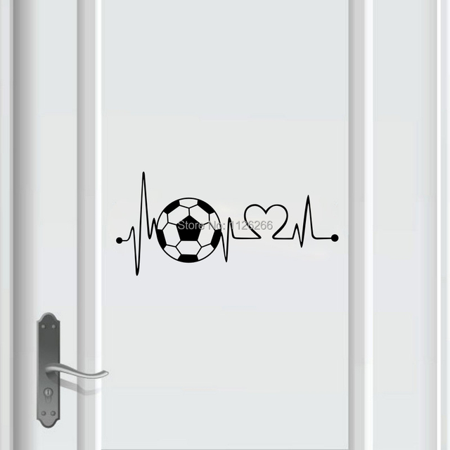 Bóng Đá sáng tạo Nhịp Tim Tường Decal Sticker đối với Bé Trai Phòng Ngủ Cửa Trang Trí Nội Thất