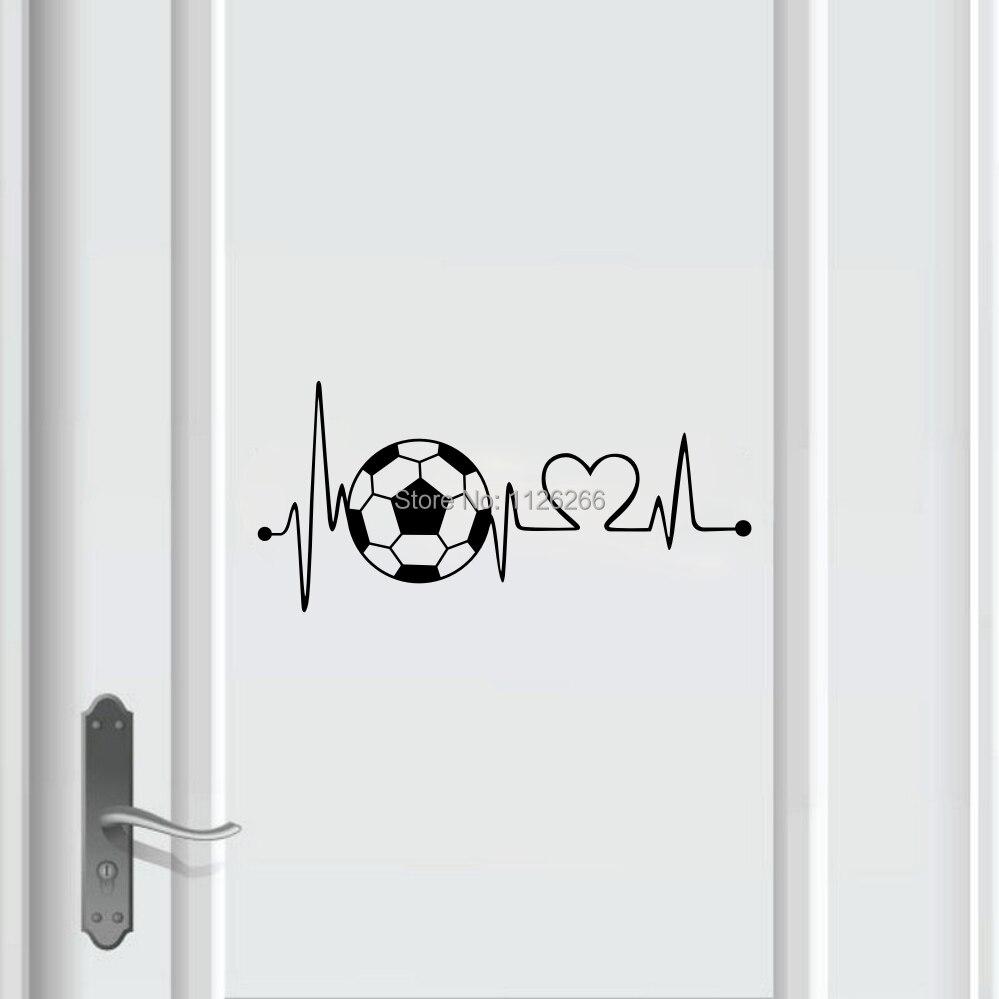 Creative Voetbal Hartslag Muurtattoo Sticker voor Jongens Slaapkamer Deur Home Decor