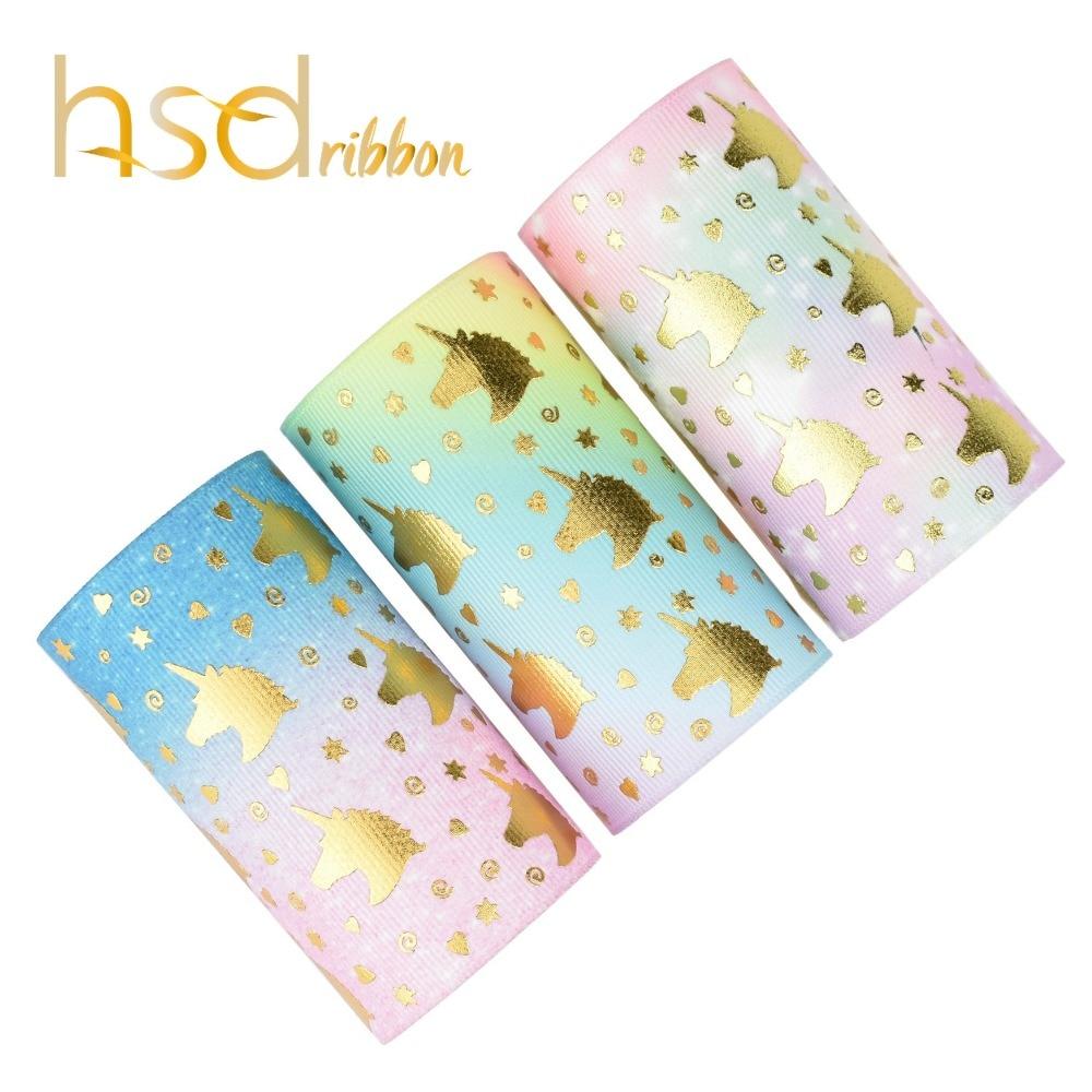 HSDRibbon custom unicorn gold Foil Printed Grosgrain Ribbon
