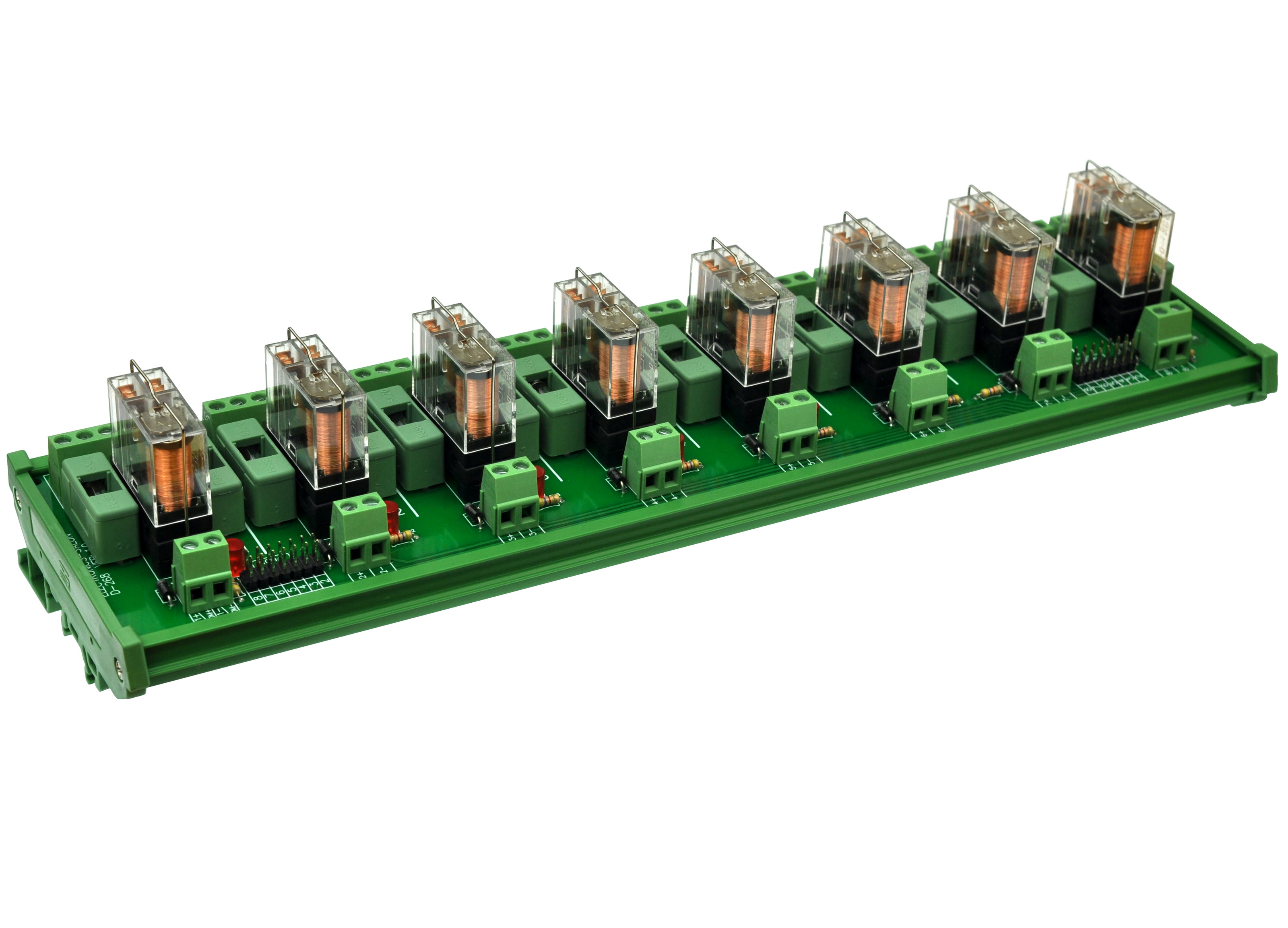 DIN Rail Mount Fused 8 DPDT 5A Power Relay Interface Module, G2R-2 5V DC Relay.