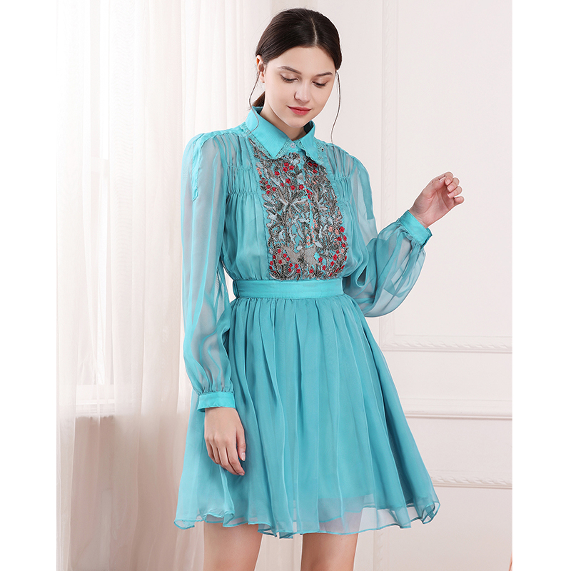 2018 Elegant Women Floral Embroidery Beading Long Sleeve Tunic Dress 2 piece Set Turn donw collar