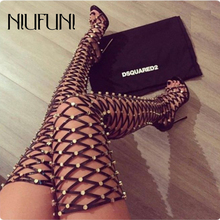 Over The Knee Boots Hollow Sandals Boots Gladiator High Heels Rivet NightClub High Boots Fashion Zipper Lace Up 2019 Party Shoes over the knee summer long boots sandals lace up hollow out high heels sexy women boots open toe mesh gladiator ladies boots