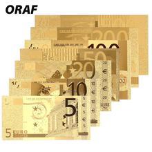 Памятные ноты из золота 5/10/20/50/100/200/500 евро, коллекция монет, поддельные деньги, украшение, высококачественные подарки, сувенир под старину