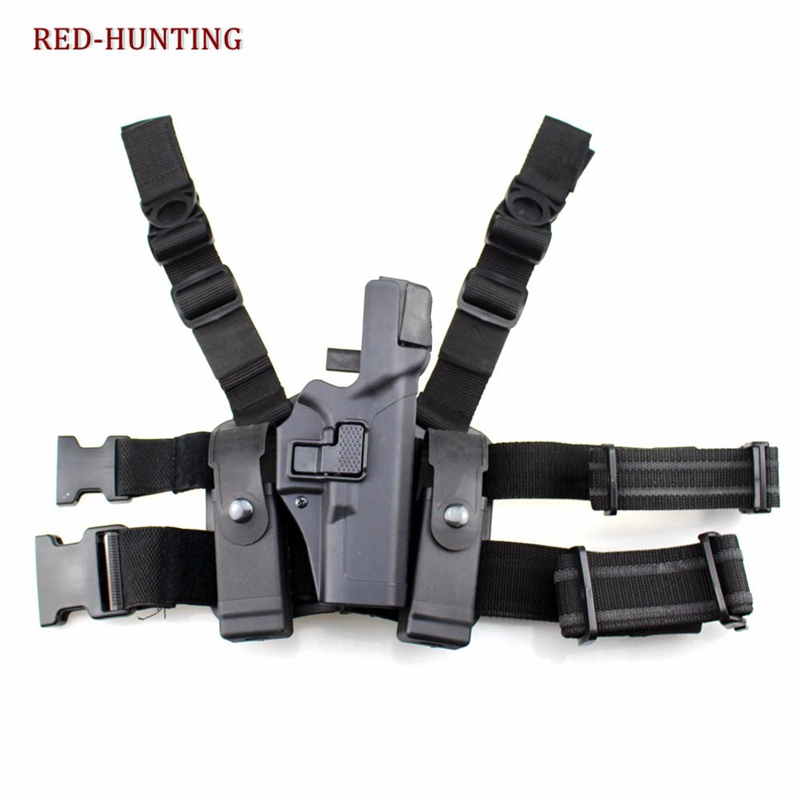 Quick Release Tactical Right Drop Leg Thigh Lock Pistol Gun Holster for Glock 17 18 19