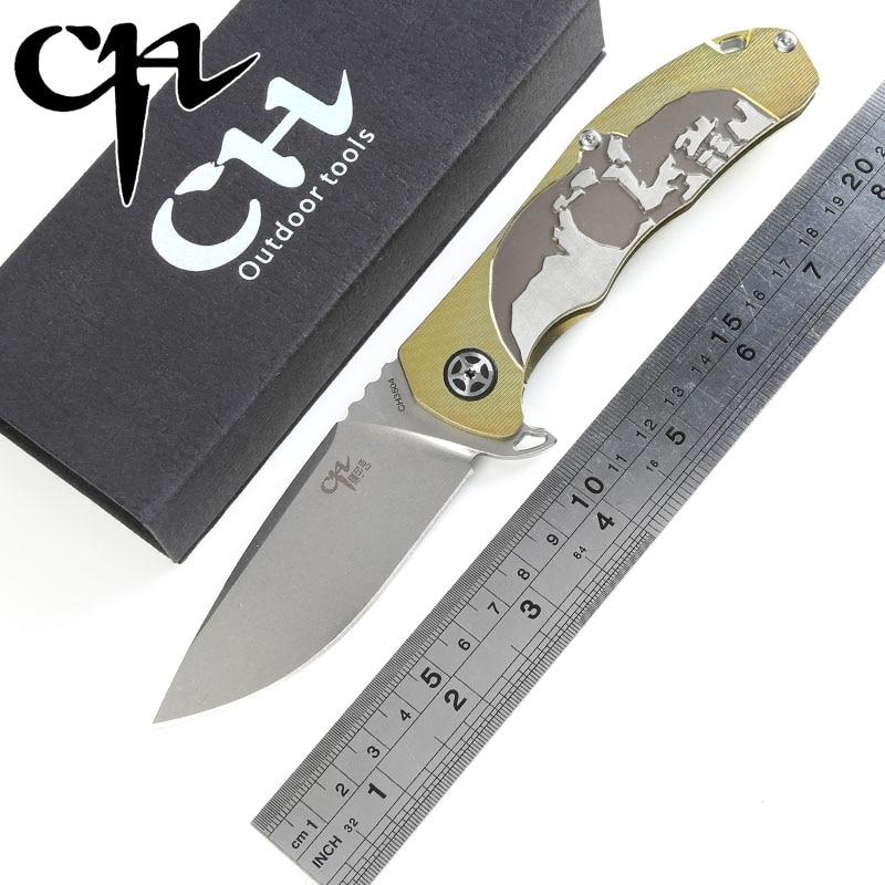 CH 3504 original design Flipper folding knife S35VN Blade ball bearings TC4 Titanium handle camping fruit pocket knife EDC tools wasserkraft leine 3504