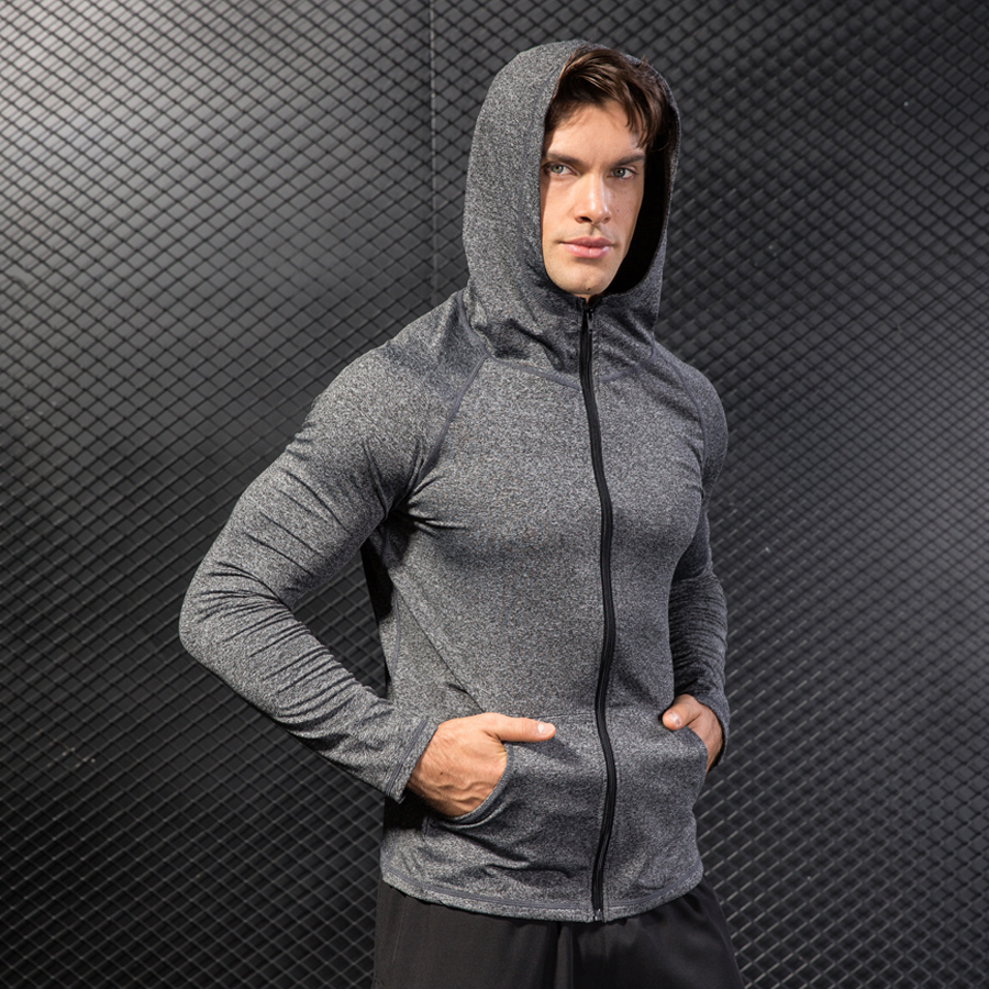 psvteide mens sports jacket Quick Dry Hoddy sports sweatshirt for men Warm Coat Man running compression jersey training sweater