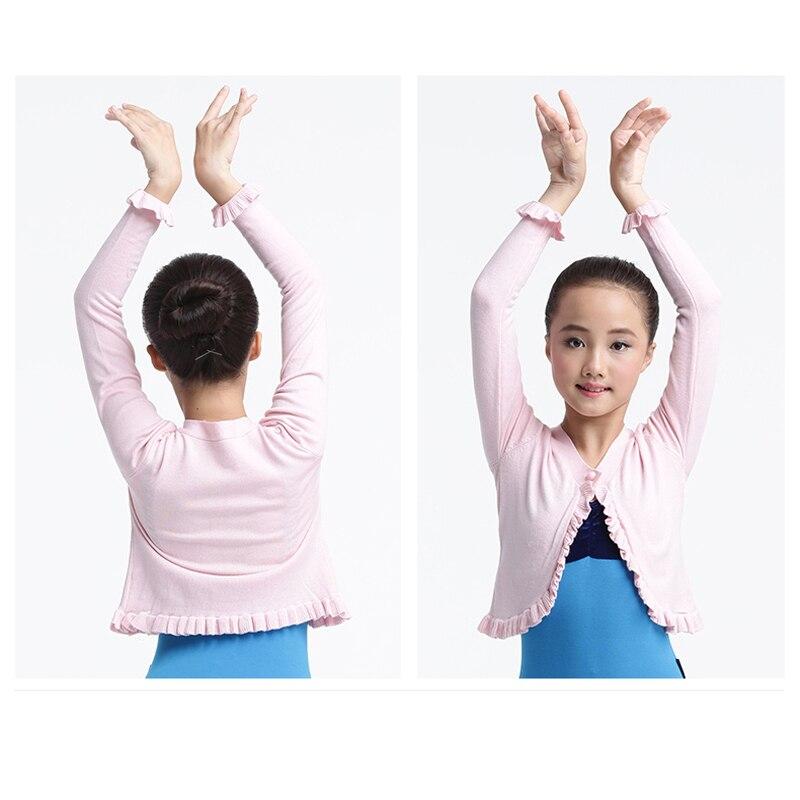 Longue couche de finition de chandail de Ballet d'enfants pour la danse de Ballet, Cape de Ballet d'enfants pour le justaucorps de Ballet avec le bouton - 3