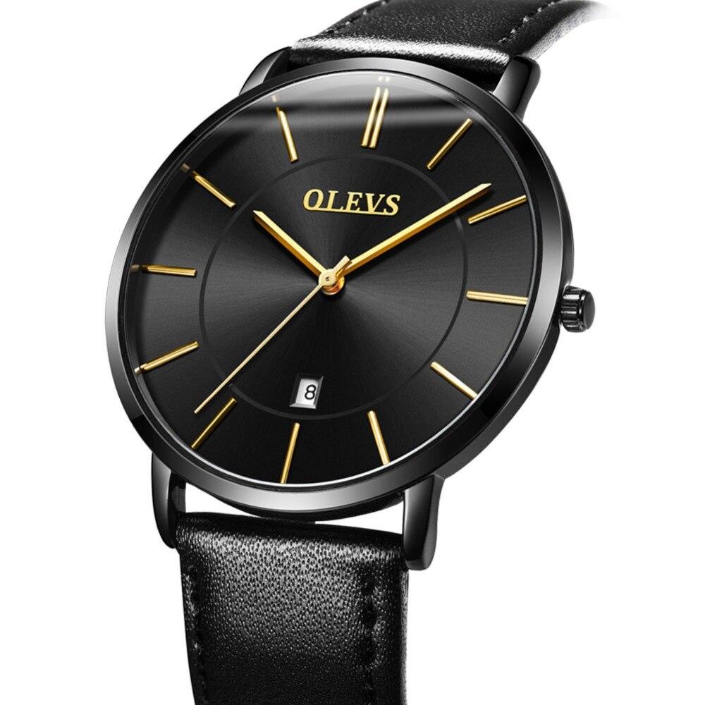 OLEVS Ultra Thin Male Wristwatch Leather Watchband Watches Waterproof Quartz Date Clock Black G5869P