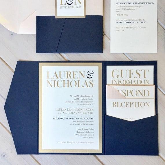 CA0903 Komplett Montiert Pocketfold Hochzeit Einladungen Weiß und Blau Einladungen Tasche Einladungen Moderne Hochzeit Einladungen-in Karten & Einladungen aus Heim und Garten bei  Gruppe 3