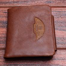 TAUREN Men Wallet 100% Design Men Trifold Wallets Fashion Purse Card Holder Wallet Man Genuine Leather With Zipper Coin Pockets