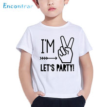 Im 1 2 3 4 5 Lets Party Pattern Funny Kids T Shirt Boys Girls Summer White Tops Baby Birthday Number Print ShirtHKP5214